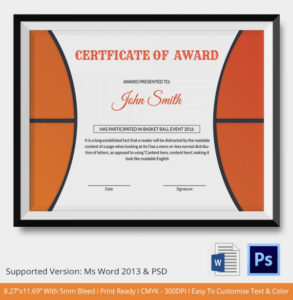 10 Basketball Sports Certificates | Certificate Templates regarding 10 Sportsmanship Certificate Templates Free