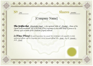 10 Best Free Stock Certificate Templates (Word, Pdf) with Unique Share Certificate Template Pdf
