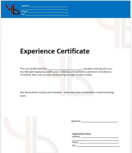 10+ Experience Certificate Formats | Free Printable Word for Certificate Of Experience Template