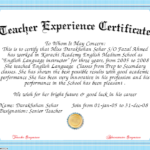 10+ Experience Certificate Formats   Free Printable Word With Handwriting Certificate Template 10 Catchy Designs