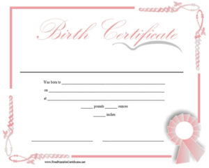 10 Free Printable Birth Certificate Templates (Word & Pdf intended for Fresh Novelty Birth Certificate Template