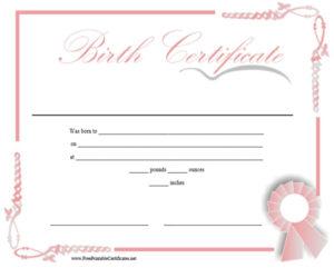 10 Free Printable Birth Certificate Templates (Word & Pdf pertaining to Fake Birth Certificate Template
