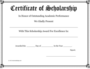 10+ Free Scholarship Award Certificate Templates (Word | Pdf) pertaining to Best 10 Scholarship Award Certificate Editable Templates