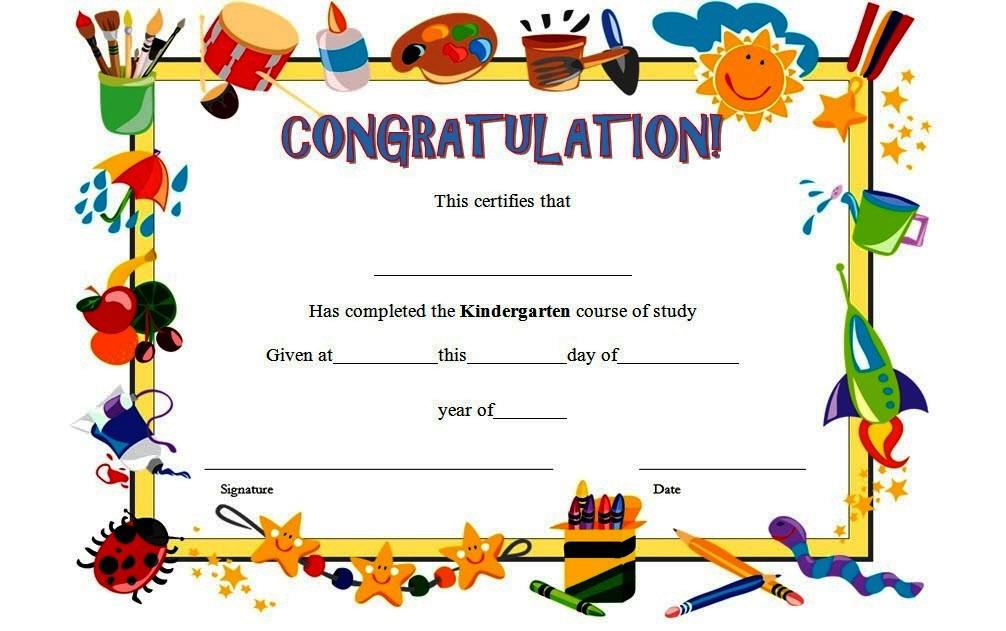 10+ Kindergarten Completion Certificate Printables Free regarding 10 Kindergarten Diploma Certificate Templates Free