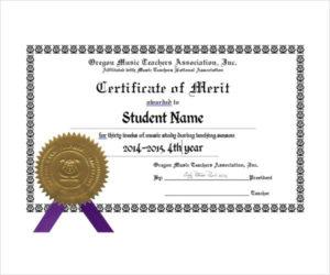10+ Merit Certificate Templates | Free Printable Word & Pdf for Certificate Of Merit Templates Editable