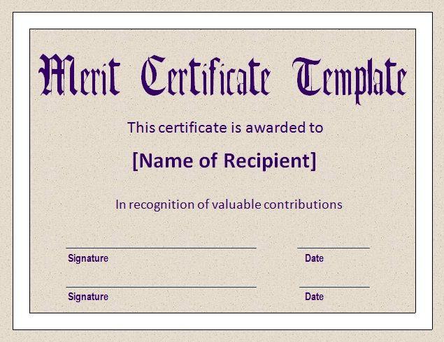 10+ Merit Certificate Templates | Word, Excel & Pdf in Quality Merit Certificate Templates Free 10 Award Ideas