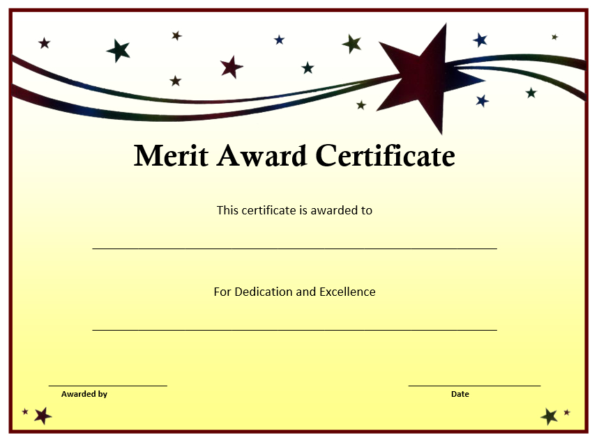 10+ Merit Certificate Templates | Word, Excel & Pdf intended for Quality Merit Certificate Templates Free 10 Award Ideas