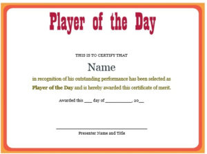 10 + Professional Player Of The Day Certificate Templates intended for Best Player Of The Day Certificate Template