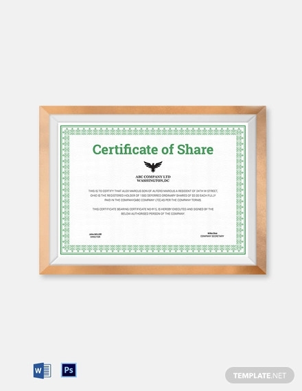 10+ Share Certificate Examples - Pdf, Docs | Examples throughout Unique Shareholding Certificate Template