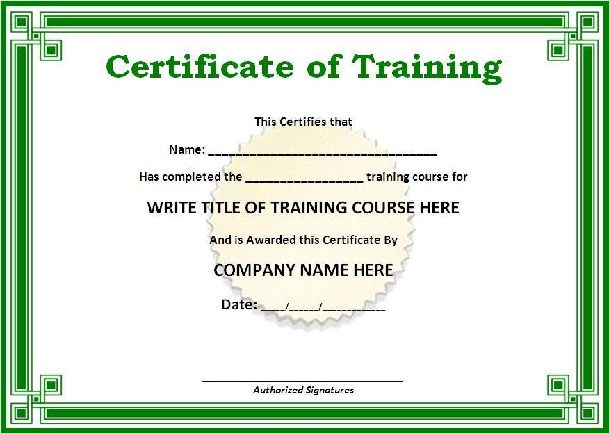 10+ Training Certificate Templates | Free Printable Word inside Training Course Certificate Templates