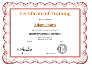 10+ Training Certificate Templates | Word, Excel & Pdf throughout Training Certificate Template Word Format
