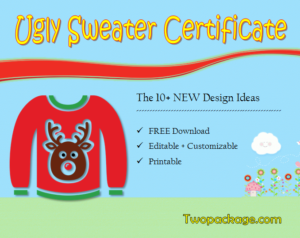 10+ Ugly Sweater Certificate Template Free Printables in Unique Free Ugly Christmas Sweater Certificate Template