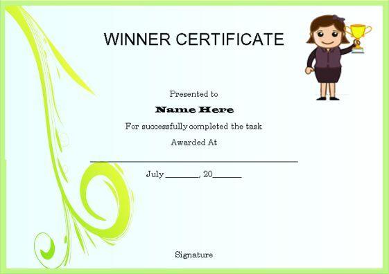 10+ Winner Certificate Templates | Free Printable Word & Pdf throughout Winner Certificate Template
