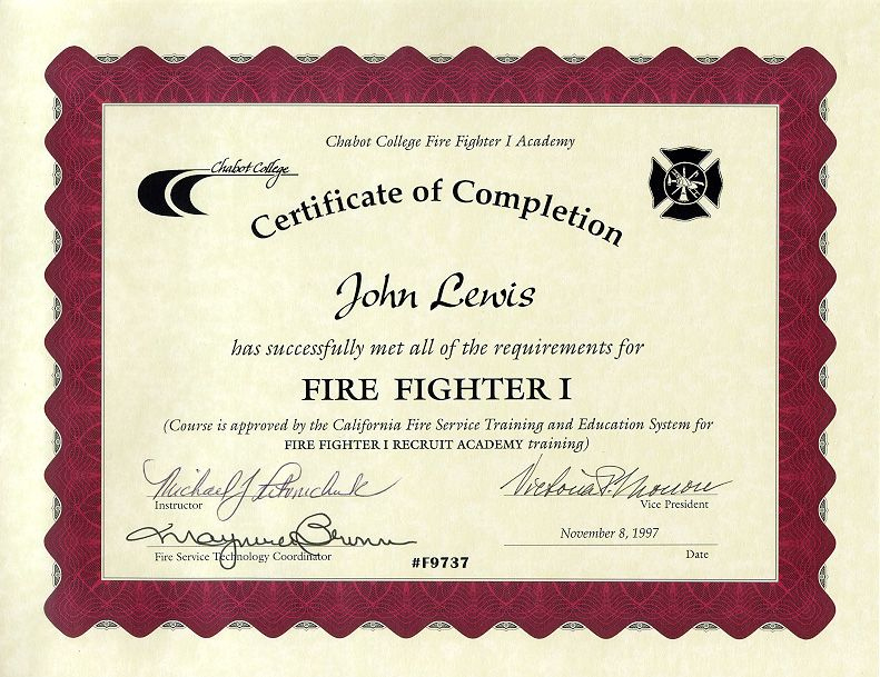 11+ Firefighter Certificate Templates | Free Printable Word in Firefighter Certificate Template