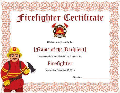 11+ Firefighter Certificate Templates | Free Printable Word inside Fresh Firefighter Certificate Template Ideas