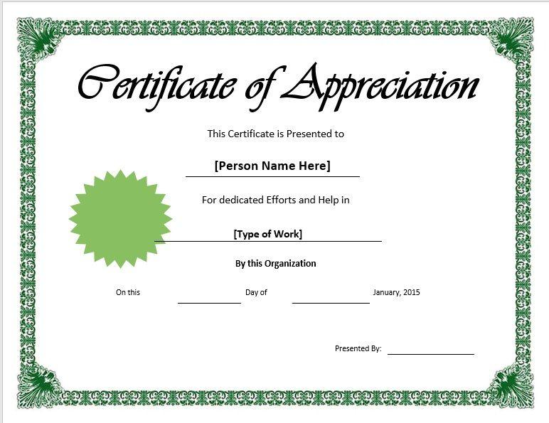 11 Free Appreciation Certificate Templates - Word Templates inside Thanks Certificate Template
