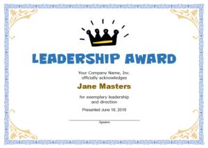 11+ Free Leadership Certificate Templates – Blue Layouts In Quality Leadership Certificate Template Designs