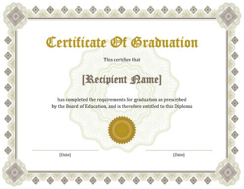 11 Free Printable Degree Certificates Templates   Hloom within Best University Graduation Certificate Template