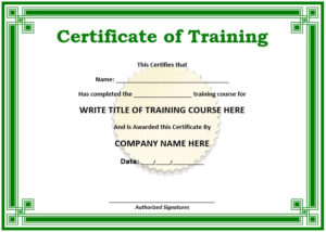 11 Free Sample Training Certificate Templates – Printable pertaining to Unique Blank Certificate Templates Free Download