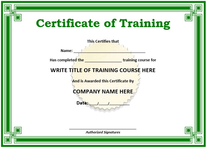 11 Free Sample Training Certificate Templates - Printable pertaining to Unique Blank Certificate Templates Free Download