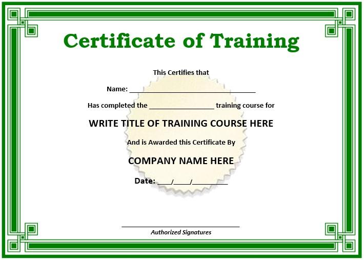 11 Free Sample Training Certificate Templates - Printable with Training Course Certificate Templates
