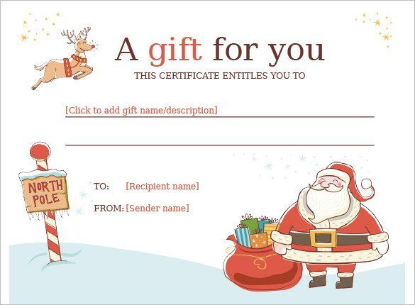 11+ Kids Christmas Certificate Templates   Free Printable Throughout Best Christmas Gift Certificate Template Free