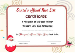 11 Naughty Or Nice Certificates (Fun And Exciting From Santa intended for New Santas Nice List Certificate Template Free