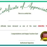 11+ Printable Certificates Of Appreciation For Teachers In Teacher Appreciation Certificate Free Printable