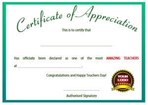 11+ Printable Certificates Of Appreciation For Teachers in Teacher Appreciation Certificate Free Printable