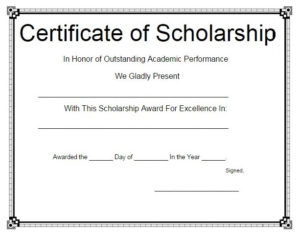 11+ Scholarship Certificate Templates | Free Word & Pdf Samples regarding 10 Scholarship Award Certificate Editable Templates