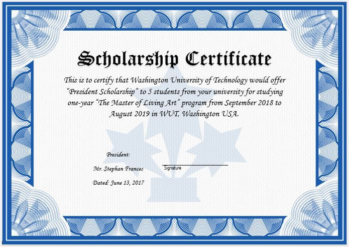 11+ Scholarship Certificate Templates | Free Word & Pdf with Scholarship Certificate Template Word