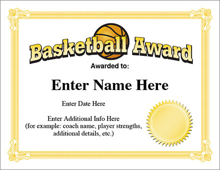 12+ Basketball Awards Certificates - Pdf | Examples regarding 7 Basketball Achievement Certificate Editable Templates
