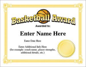 12+ Basketball Awards Certificates – Pdf   Examples throughout Basketball Mvp Certificate Template