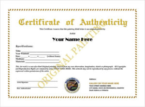 12+ Certificate Of Authenticity Templates – Word Excel Samples in New Certificate Of Authenticity Free Template