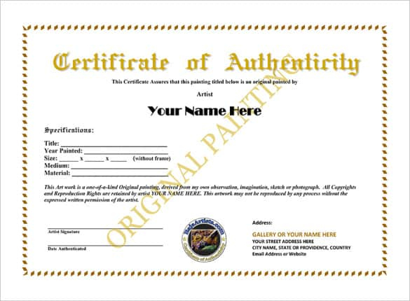12+ Certificate Of Authenticity Templates - Word Excel Samples with Authenticity Certificate Templates Free