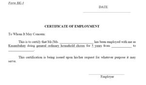 12 Free Sample Employment Certificate Templates – Printable throughout Certificate Of Service Template Free