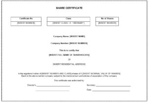 12 Free Sample Stock Shares Certificate Templates inside Fresh Template For Share Certificate