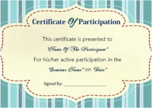 12 Ready To Use Sample Certificate Templates Of with Best Sample Certificate Of Participation Template