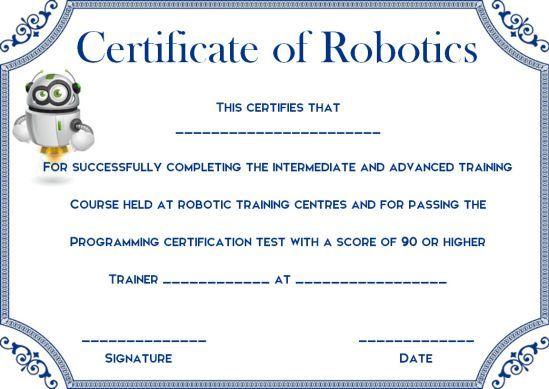 12+ Robotics Certificate Templates For Training Institutes for Robotics Certificate Template