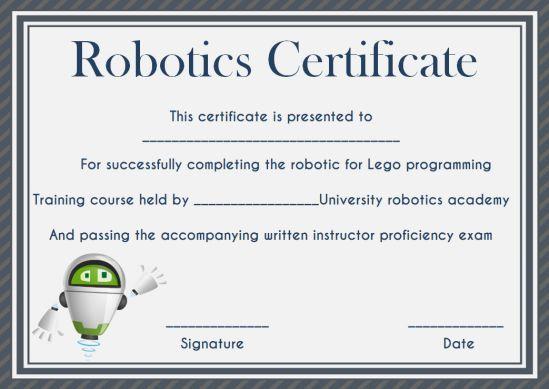 12+ Robotics Certificate Templates For Training Institutes inside Robotics Certificate Template Free
