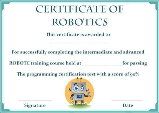 12+ Robotics Certificate Templates For Training Institutes inside Unique Robotics Certificate Template Free