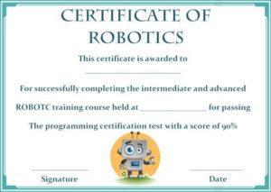 12+ Robotics Certificate Templates For Training Institutes intended for Robotics Certificate Template