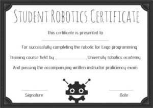 12+ Robotics Certificate Templates For Training Institutes pertaining to Robotics Certificate Template Free