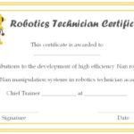 12+ Robotics Certificate Templates For Training Institutes Regarding Unique Robotics Certificate Template Free