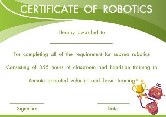 12+ Robotics Certificate Templates For Training Institutes within Robotics Certificate Template Free