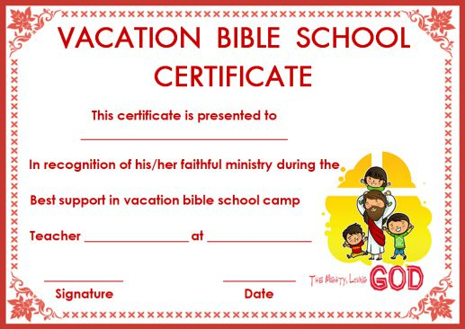 12+ Vbs Certificate Templates For Students Of Bible School for Printable Vbs Certificates Free
