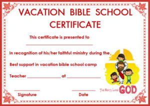 12+ Vbs Certificate Templates For Students Of Bible School pertaining to Vbs Certificate Template