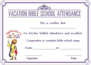 12+ Vbs Certificate Templates For Students Of Bible School regarding Vbs Attendance Certificate Template