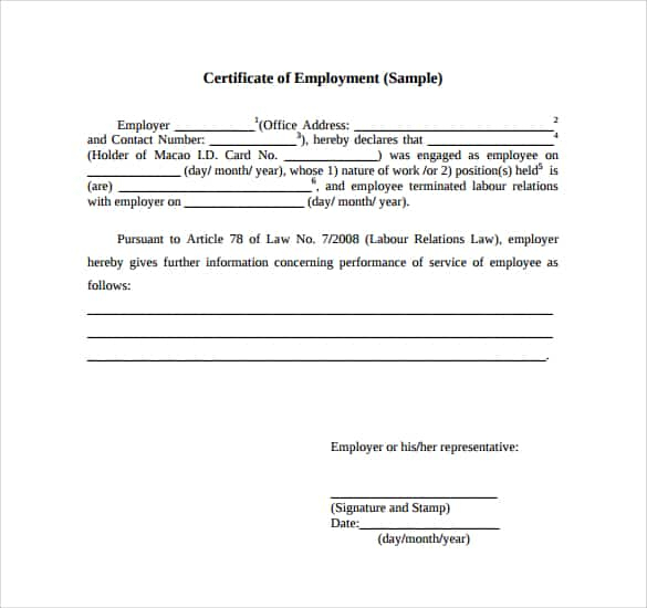 13+ Free Certificate Of Employment Samples - Word Excel Samples regarding Certificate Of Service Template Free