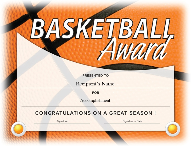 13 Free Sample Basketball Certificate Templates - Printable intended for Basketball Certificate Templates